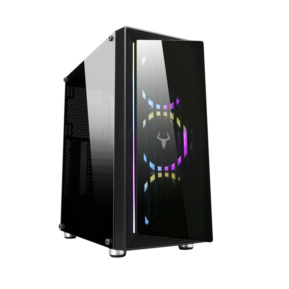 Case optoix - gaming middle tower, 2xusb3, 3x12cm argb fan, front & side panel temp glass