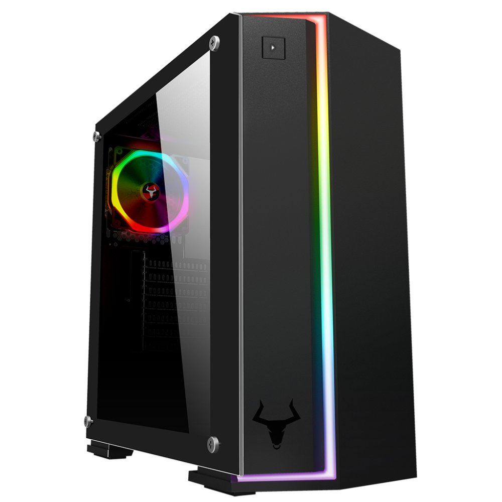 Case verve - gaming middle tower, 2xusb3, 12cm argb fan, side panel temp glass