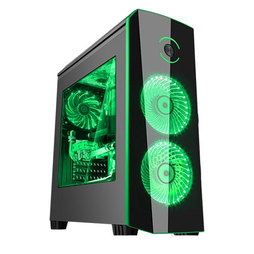 Case origin black green - gaming middle tower, usb3, 2x12cm led fan, trasp wind