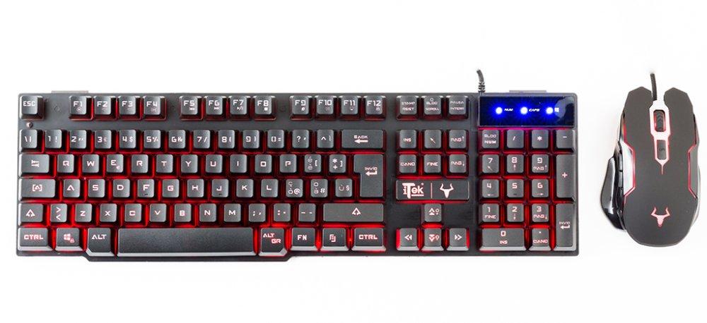 Gaming combo taurus t16m2 - tastiera retroilluminata, multimediale, ag e mouse 2400dpi