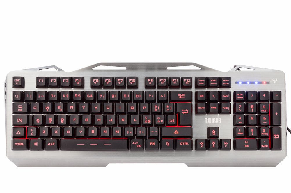 Tastiera gaming taurus t17 - retroilluminata 3 colori, multimediale, anti-ghosting, cover e struttura in metallo