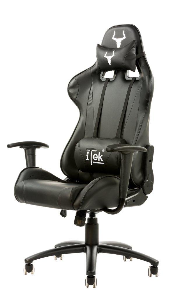 Itek gaming chair taurus p2 -  pelle sintetica pu, doppio cuscino, nero nero