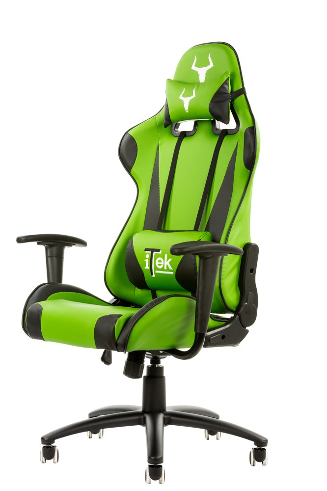 Itek gaming chair taurus p2 v2 -  pelle sintetica pu, doppio cuscino, nero verde