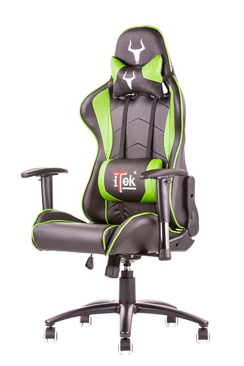 Itek gaming chair taurus p3 -  pelle sintetica pu, doppio cuscino, braccioli regolabili, nero verde