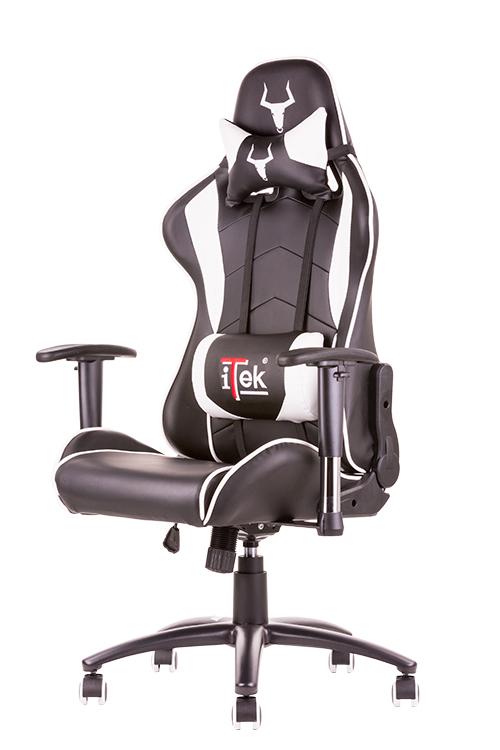 Itek gaming chair taurus p3 -  pelle sintetica pu, doppio cuscino, braccioli regolabili, nero bianco