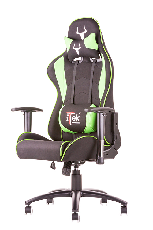 Itek gaming chair taurus s2 -  tessuto, doppio cuscino, braccioli regolabili, nero verde