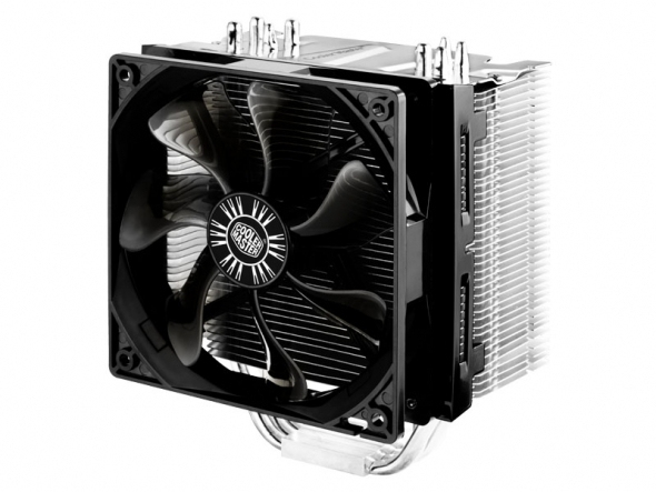 Ventola hyper 412s universal incl. lga 2011, high-end silent cooler, 4 cdc heatpipes, 120mm 1300-900rpm fan with fanspeed adapte